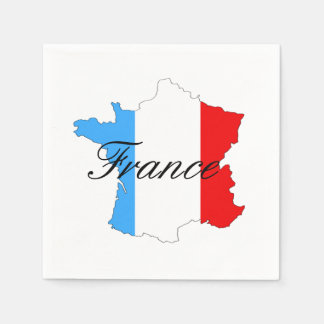 Map of France with French Flag Inside Map Napkin