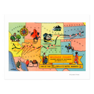 Map of Fred Harvey Hotel LocationsCA to KS Postcard