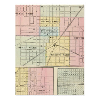 Map of Galesburg City, and Monmouth and Aledo Postcard