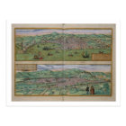 Map of Genoa and Florence, from 'Civitates Orbis T Postcard