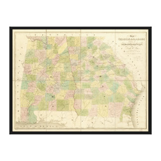 Map of Georgia and Alabama (1839) Canvas Print