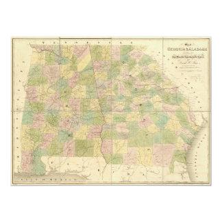 Map of Georgia and Alabama (1839) Card