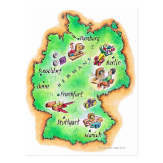 Map of Germany Postcard