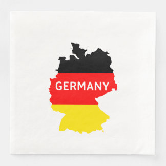 Map of Germany with National Flag Disposable Napkins