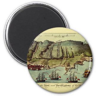 Map Of Gibraltar 1765 Magnet
