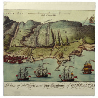 Map Of Gibraltar 1765 Napkin
