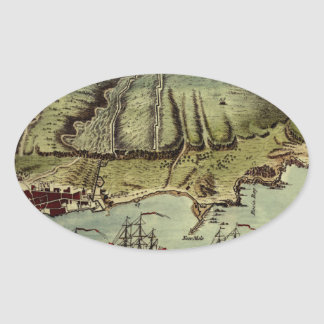 Map Of Gibraltar 1765 Oval Sticker