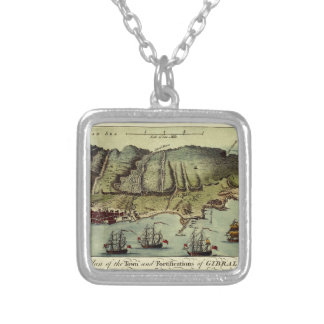 Map Of Gibraltar 1765 Silver Plated Necklace