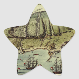 Map Of Gibraltar 1765 Star Sticker