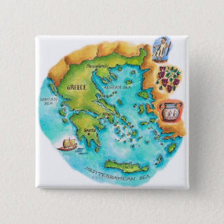 Map of Greece Isles 2 Inch Square Button