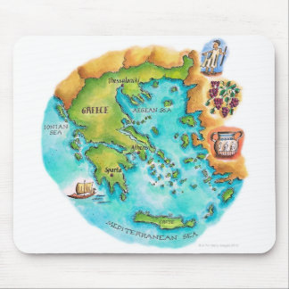 Map of Greece Isles Mouse Pad