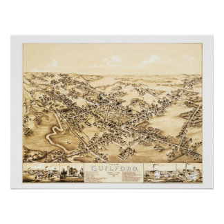 Map of Guilford, Connecticut from 1881 Poster