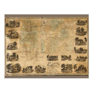 Map of Hamilton, Madison County, New York (1858) Postcard