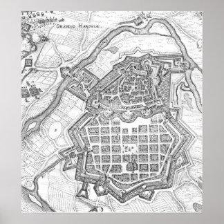 Map of Hanau, 1636 Poster