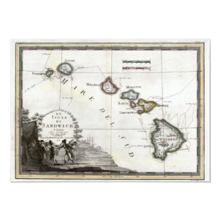 Map of Hawaii with Captain Cook vignette Card