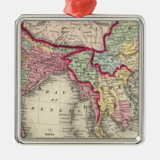 Map Of Hindoostan, Farther India, China, and Tibet Silver-Colored Square Ornament
