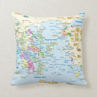 Map of Homeric Era Greece with English labels Throw Pillow