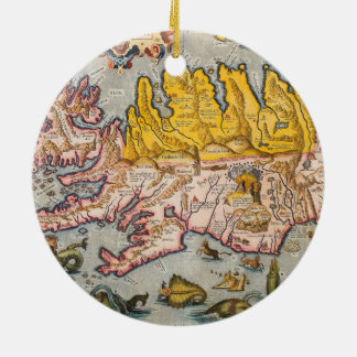 Map of Iceland Ceramic Ornament