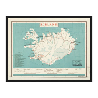 Map of Iceland (circa 1959) Canvas Print