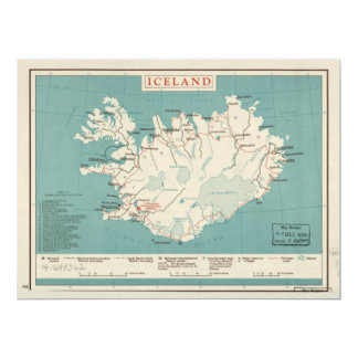 Map of Iceland (circa 1959) Card
