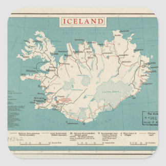 Map of Iceland (circa 1959) Square Sticker