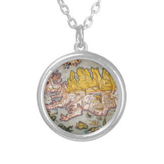 Map of Iceland Silver Plated Necklace