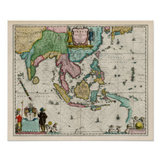 Map of India and Far East, 1642 Map Poster
