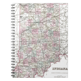 Map of Indiana. Joseph Hutchins Colton Notebooks