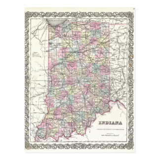 Map of Indiana. Joseph Hutchins Colton Postcard