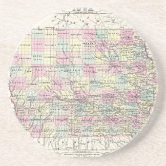 Map of Iowa. Joseph Hutchins Colton Beverage Coaster