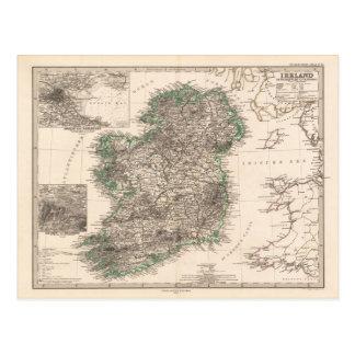 Map of Ireland (1876) Postcard