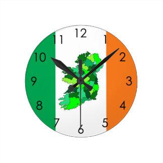 Map of Ireland and Irish Flag Round Clock