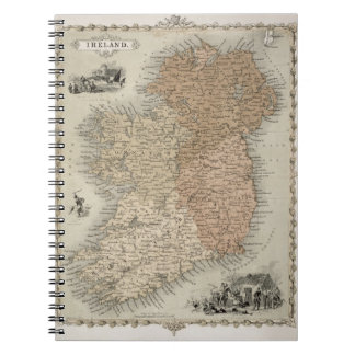 Map of Ireland, published c.1850 (hand-coloured en Notebook