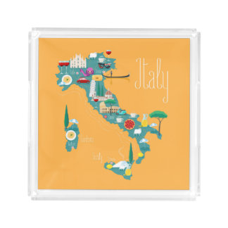 Map of Italy Acrylic Tray