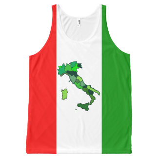 Map of Italy and Italian Flag All-Over-Print Tank Top