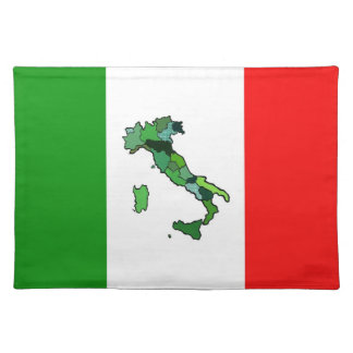 Map of Italy and Italian Flag Placemat