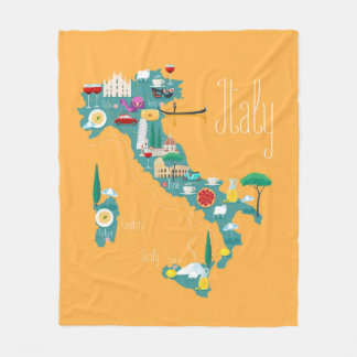 Map of Italy Fleece Blanket