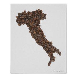 Map of Italy made of Coffee Beans Poster