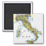 Map of Italy Square Magnet