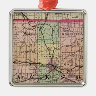 Map of Jackson County, Michigan Metal Ornament