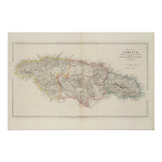 Map of Jamaica Poster
