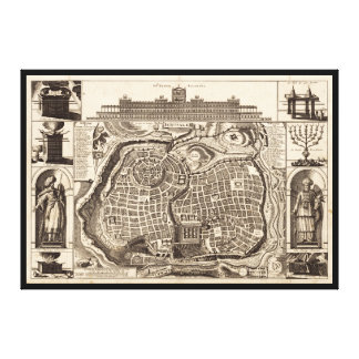 Map of Jerusalem (Ierusalem) circa 1770 Canvas Print