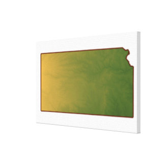 Map of Kansas Gallery Wrap Canvas
