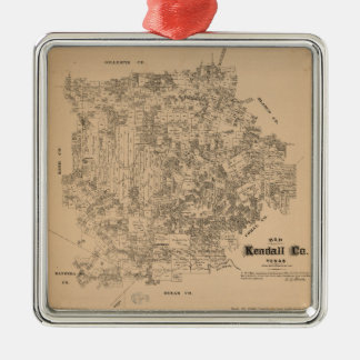 Map of Kendall County, Texas (1879) Metal Ornament