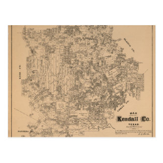 Map of Kendall County, Texas (1879) Postcard
