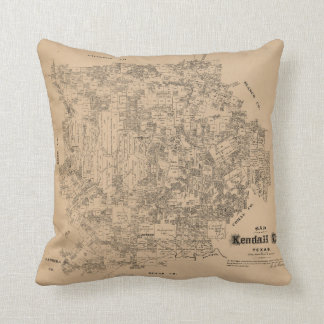 Map of Kendall County, Texas (1879) Throw Pillow