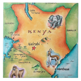Map of Kenya Tile
