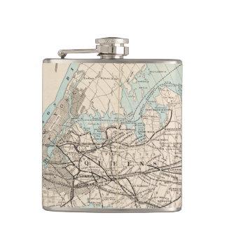 Map of Kings, Queens, Long Island Hip Flask