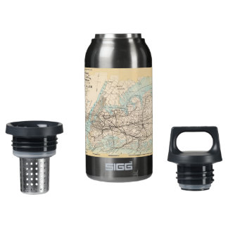 Map of Kings, Queens, Long Island Insulated Water Bottle
