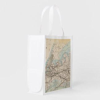 Map of Kings, Queens, Long Island Reusable Grocery Bag